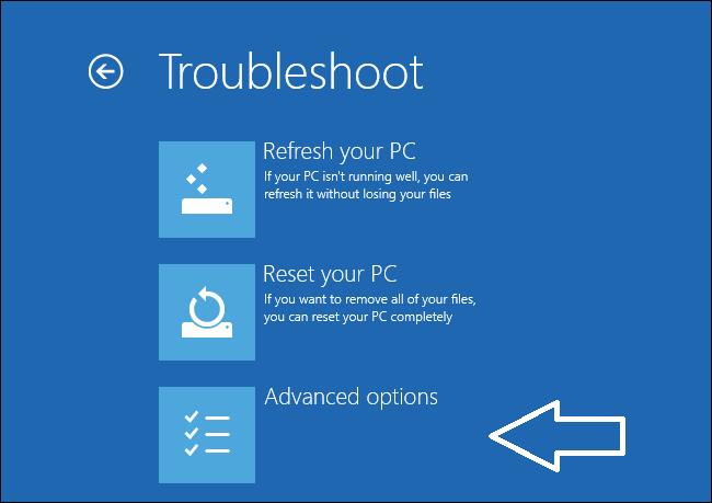 boot options troubleshoot