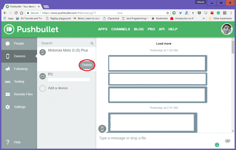 pushbullet-devices list